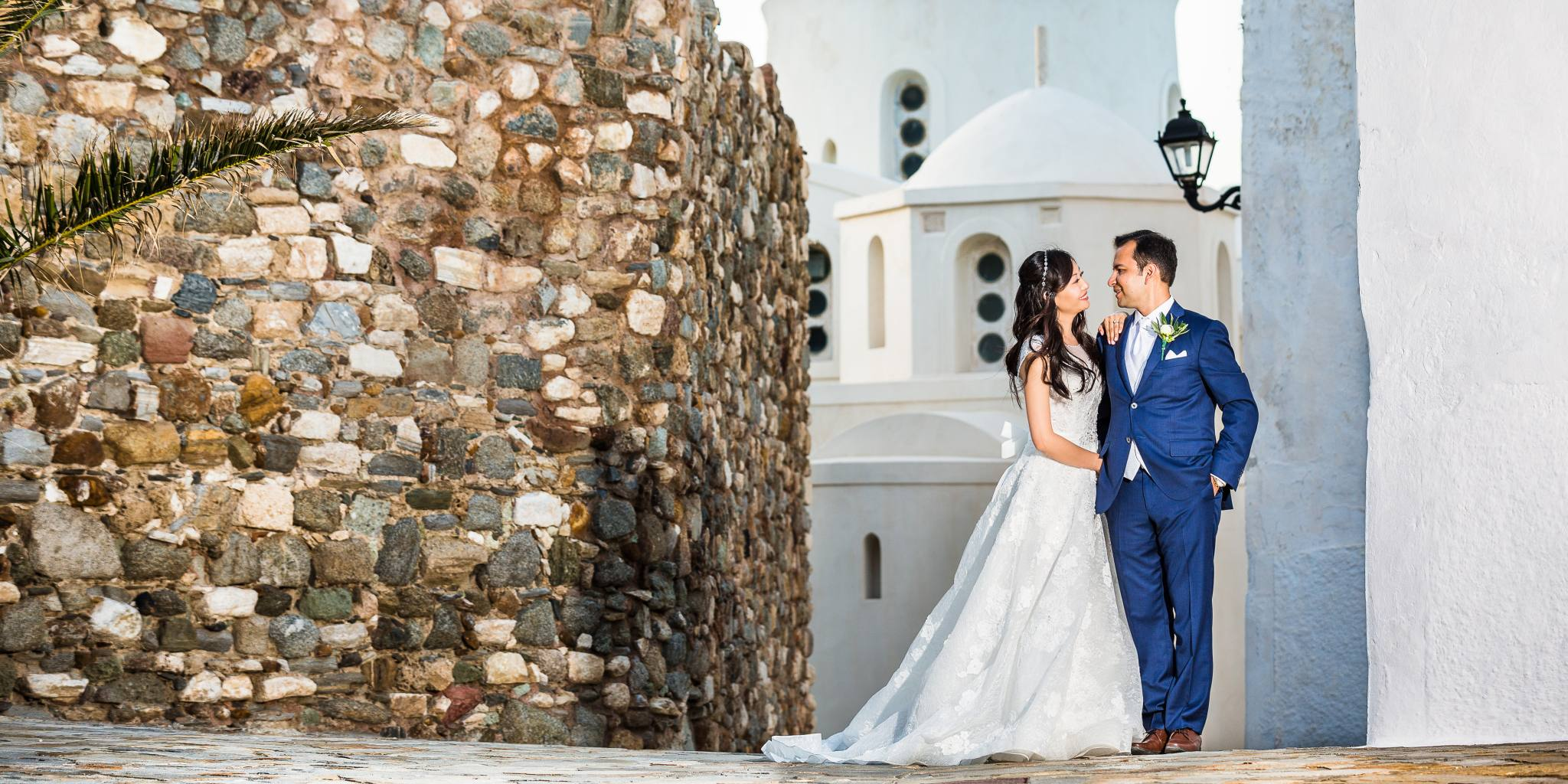 Stylish couple wedding in the Cyclades